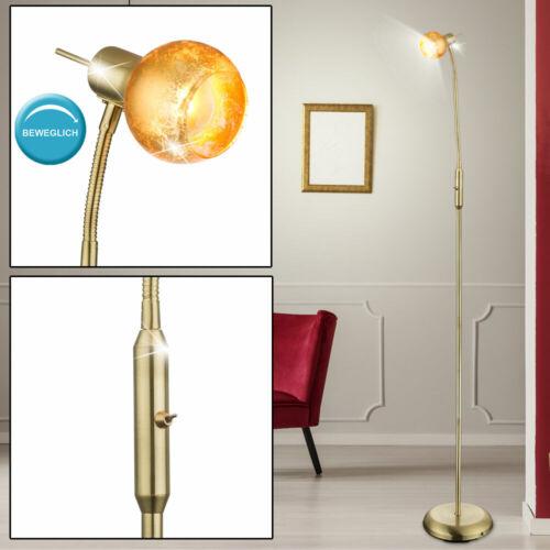 Messing Steh Lampe Flexo Strahler verstellbar Wohn Zimmer Stand Leuchte gold
