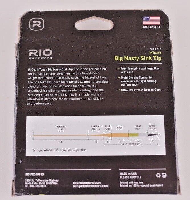 Rio Line Big Nasty Sink Tip WF7 F/H/I/S3 Fly Line Rio Free Fast Shipping 6-21936 9e0cca