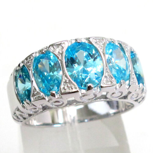 Charmant 4 CT AIGUE-MARINE 925 Sterling Silver Ring Taille 5-10