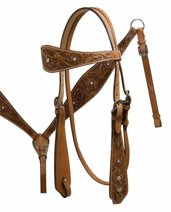 Showman FLORAL Tooled Leather & RHINESTONE Bridle Breast Collar & Reins SET