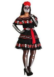 Women-039-s-Sugar-Skull-Day-of-the-Dead-Costume-SIZE-MEDIUM-with-defect