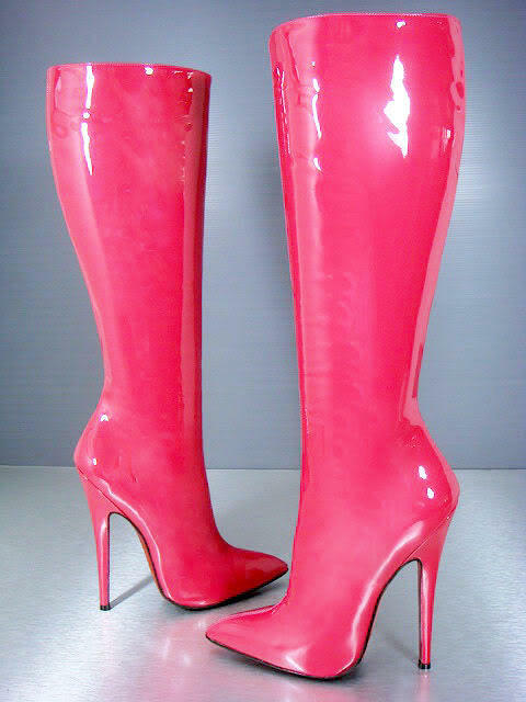 CQ COUTURE KNEE HIGH EXTREME HEELS BOOTS STIEFEL BOOTS LEATHER FUCHSIA PINK 44