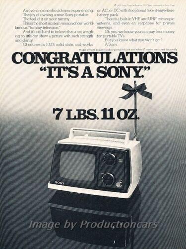 1976 Sony AC DC 7 pound TV Television Original Advertisement Print Art Ad J860