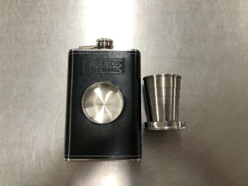 Hornitos Black Barrell Tequila Flask Built-in Collapsable Stainless Shot Glass