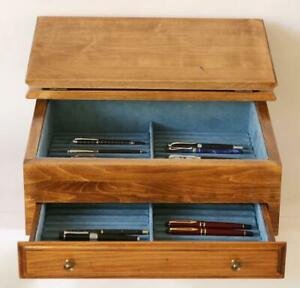 822-FOUNTAIN-PEN-STORAGE-DISPLAY-CHEST-CUSTOM-BUILT-SOLID-MAPLE-HAND-CRAFTED