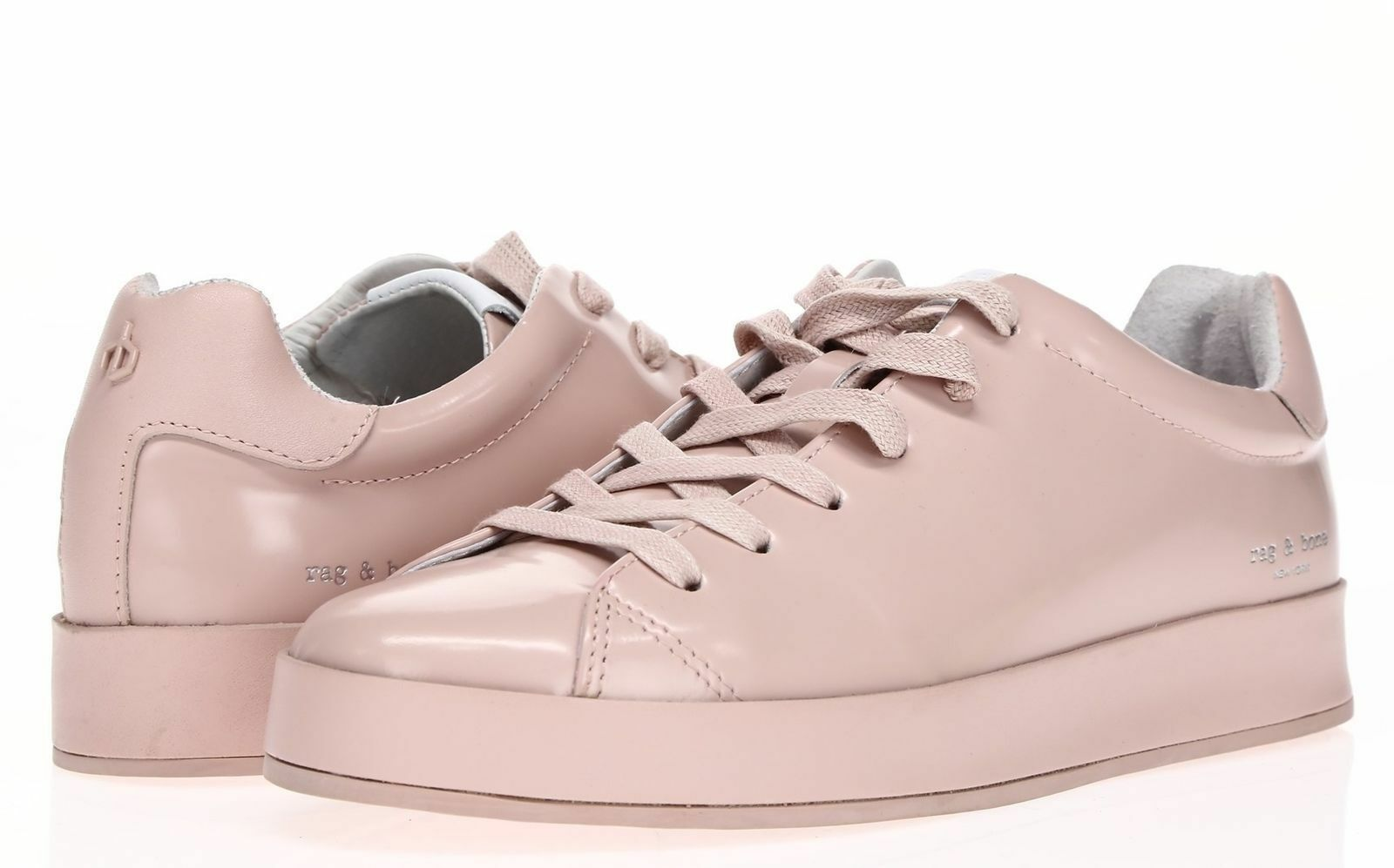 RAG & Sz BONE Womens 'RB1' Pink Leather Low Top Sneakers Sz & 38.5 Handmade 018e4f