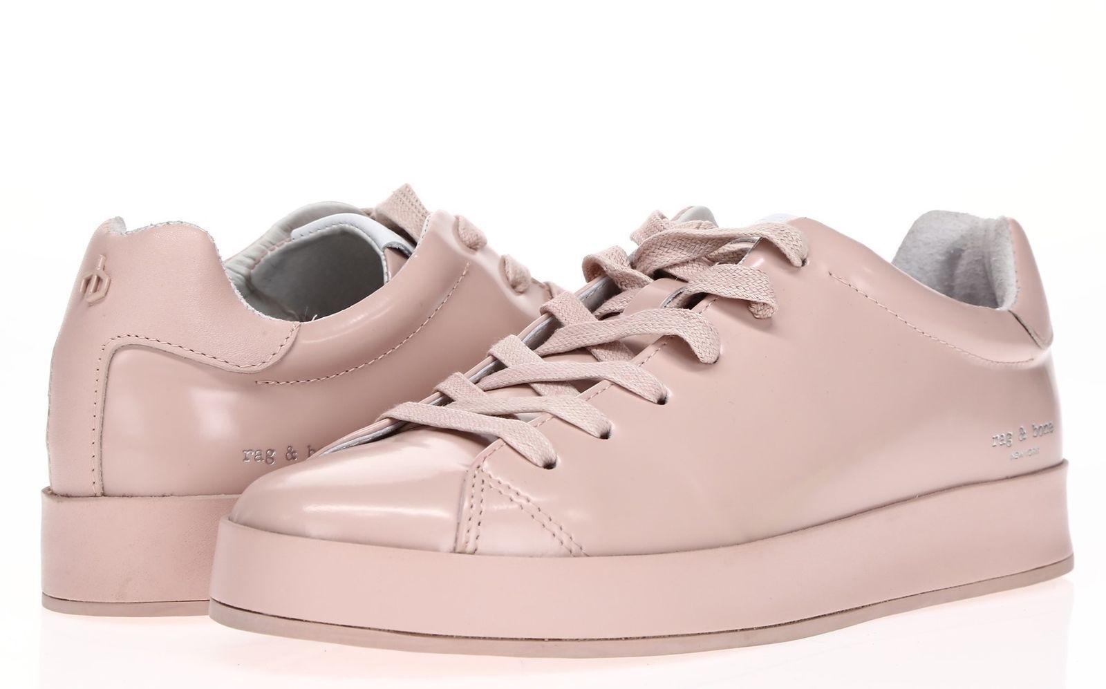 RAG & Sneakers BONE Womens 'RB1' Pink Leather Low Top Sneakers & Sz 38.5 Handmade 08ec43