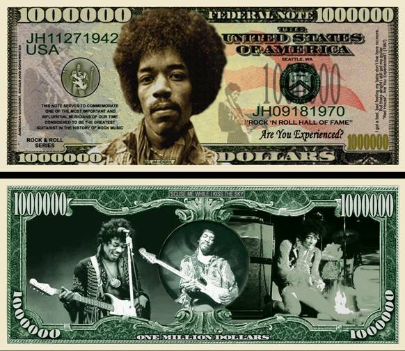 100 Jimi Hendrix Million Dollar Bill for sale online  eBay