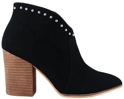 Aspen-03 Women Western Studs Pointed Toe Block Heel Side Zipper Ankle Boots