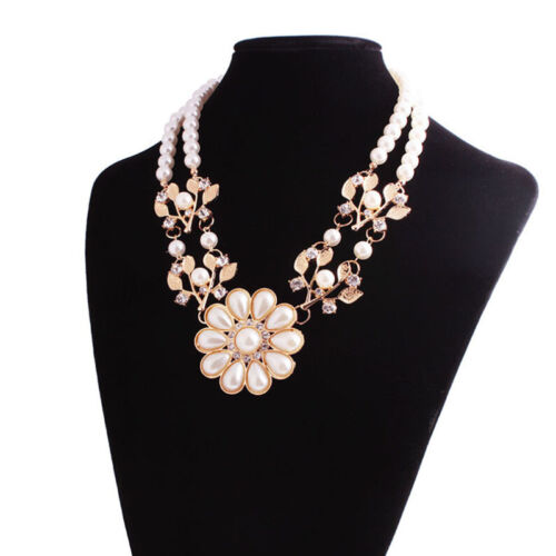 Fashion Women Faux Pearl Crystal Flower Choker Chunky Satement Pendant Necklace
