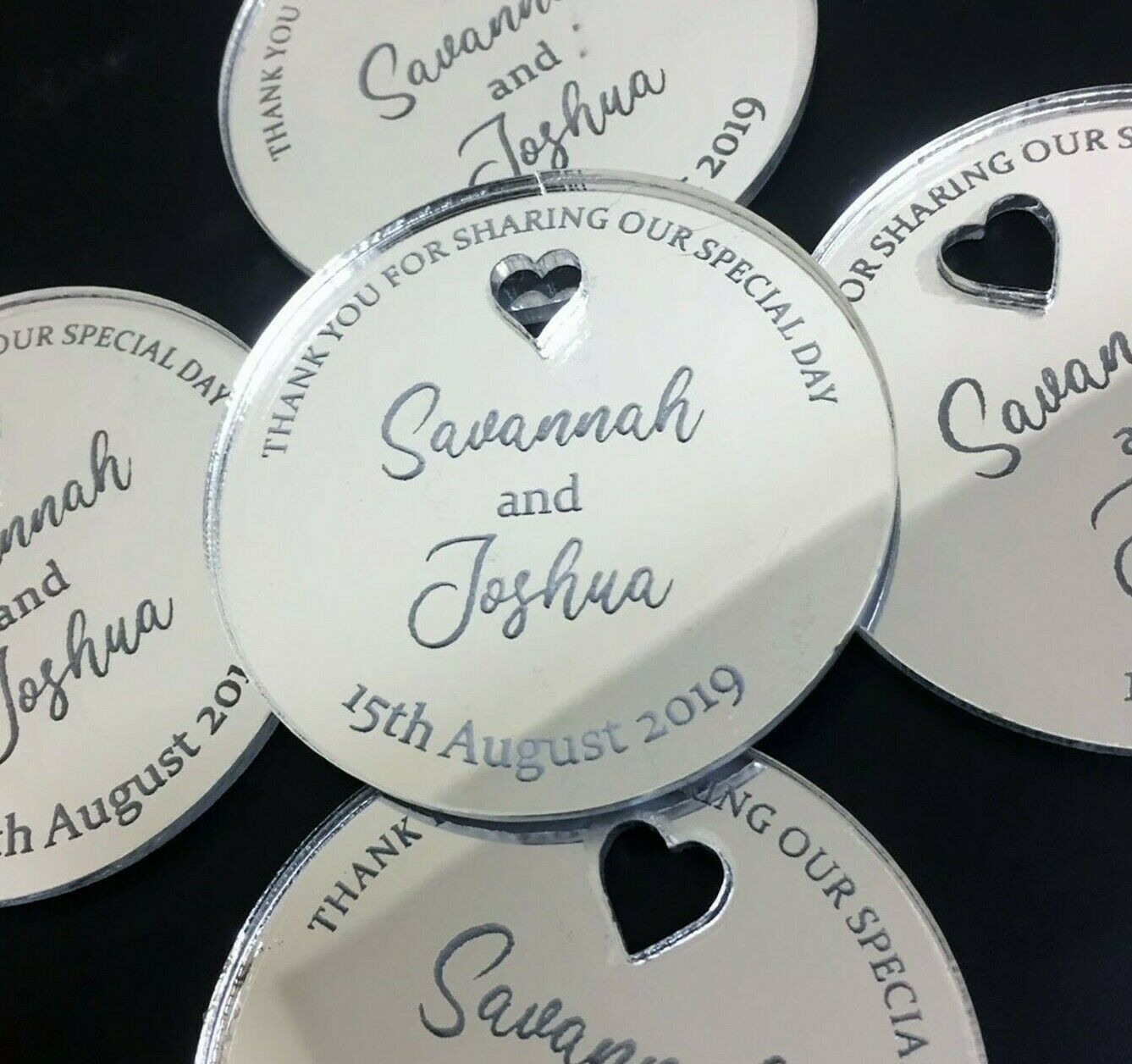 Personalised Wedding Favours Engraved Silber Place Setting Wood Table Decoration