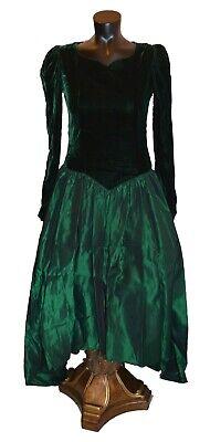 Vintage 1980s Dark Green Velvet White Tulle Formal Dress Open Back Rhinestone Clasp Vintage Eighties Union Label Forest Green Velvet Gown