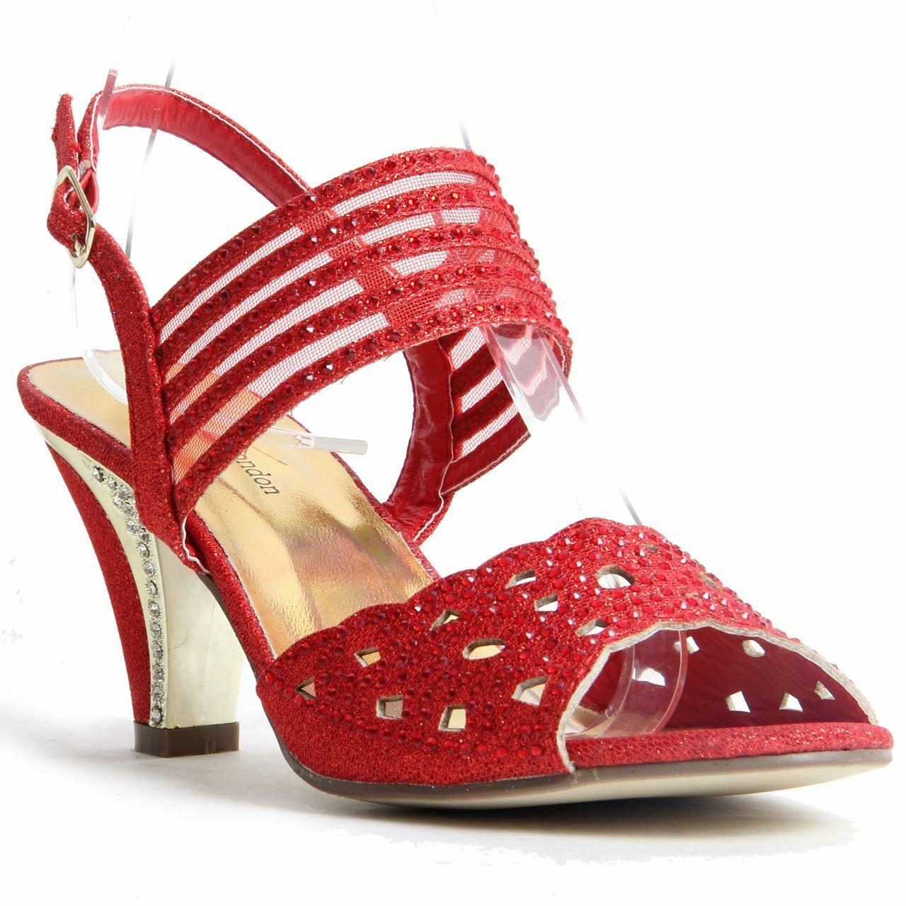 Womens Ladies Sparkling Diamante Block Heel Party shoes Buckle Up Sandals Red