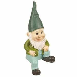 Small Garden Gnome Sitting With Green Or Red Hat Small Ebay