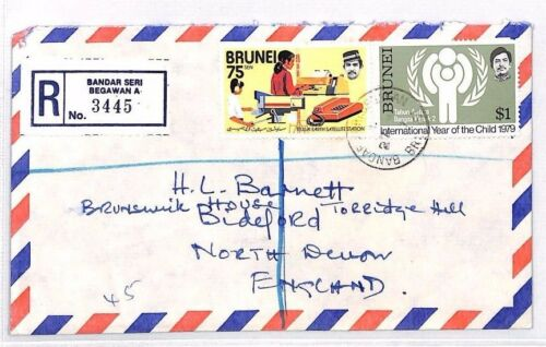 XX10 1979 BRUNEI Bandar Seri Begawan REGISTERED Airmail Cover Devon