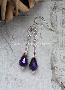 Gothic-Dark-Purple-AB-Crystal-Teardrop-Tube-Bead-Dangle-Drop-Earrings-Retro-UK