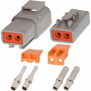 Set 2 Deutsch DTP 2-Pin Waterproof Connector Kit with 12-14 Gauge Solid Contacts