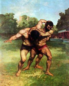 Wrestler (Ringkämpfer) by Gustave Courbet. Sports .  11x14 Print