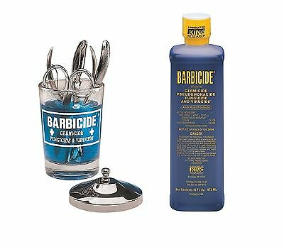 Barbicide disinfectant Solution 473ml + Jar 4 Salon Spa  Medical Athletic Tools