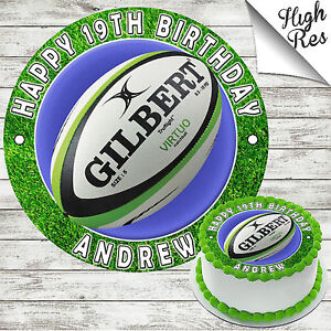 Image Is Loading RUGBY EDIBLE ROUND BIRTHDAY CAKE TOPPER DECORATION PERSONALISED