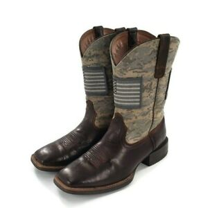 Ariat Sport Patriot Leather Cowboy Boots Mens Size 9 Square Toe Flag Camo Brown