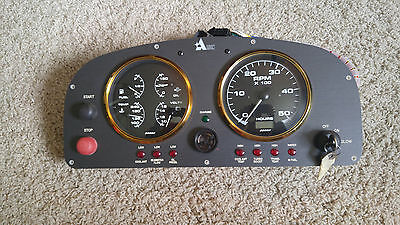 Beede Gold Black Oversized Boat Multi-Function Oil/Fuel/Volt/Temp Gauge and Tach