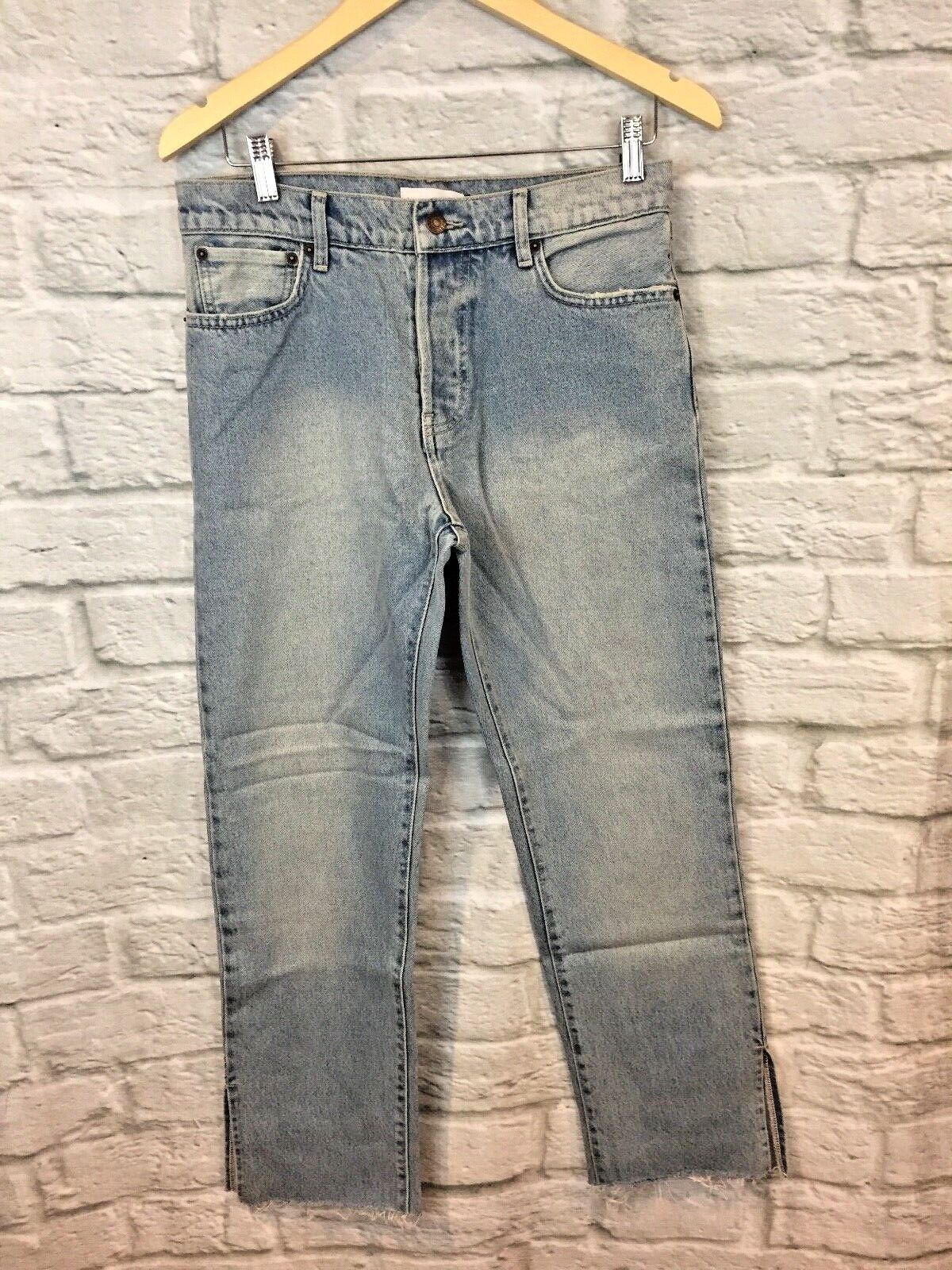 NWT Sincerely Jules High Waist Light Wash Button Fly Raw Hem Jeans Size 27