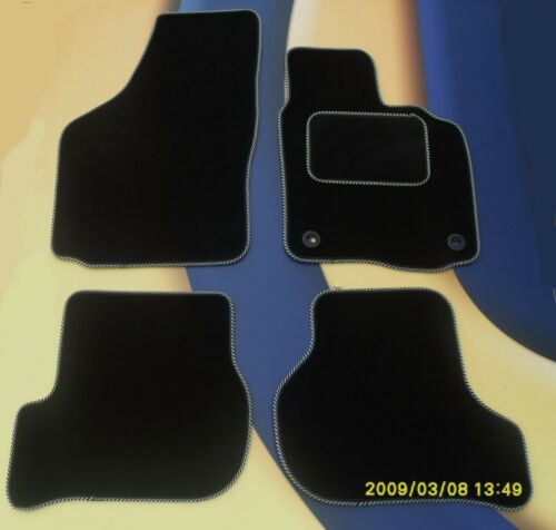 CITROEN DS4 2011 on BLACK  CAR MATS WITH SILVER EDGING 2 RECEPTOR CLIPS B