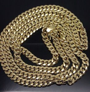10k Gold Cuban Link Chain >> Box lock 30 Inches 10K Yellow Gold Miami Cuban Link Chain 6mm Rope,Franco,Chino