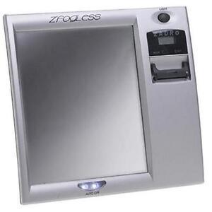 New Zadro Fog-Free Shower Mirror wi/ Digital Clock Z200 - Silver