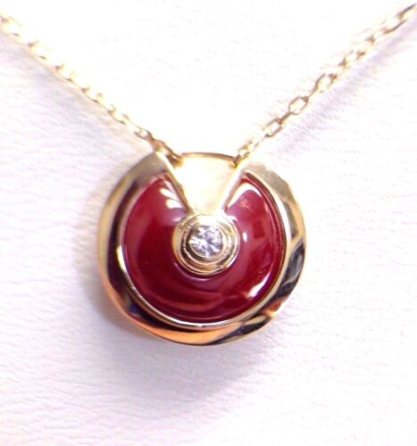 Natural Red Carnelian 14k Yellow Gold Amulet Pendant NecklaceNEW
