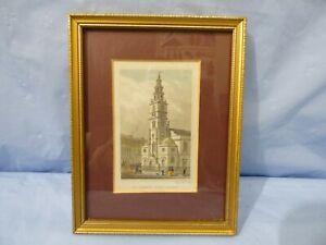 1835 incorniciato stampa originale Chiesa di San Clemente dei danesi, Strand da S. Lacy Incisione
