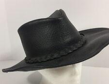 Minnetonka Buffalo Black Leather Western Cowboy Hat Outback Size Small Vintage