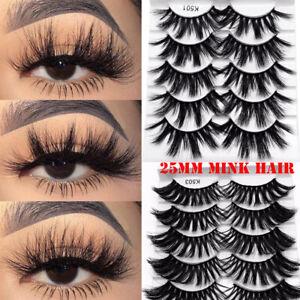 SKONHED-5Pair-25mm-3D-Mink-Hair-Eyelashes-Fluffy-Natural-Long-Full-Wispy-Lashes