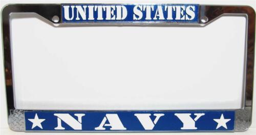 US NAVY Chrome Metal Auto License Plate Tag Frame