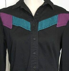 Rockies-Women-039-s-Vintage-Western-Shirt-Black-Long-Sleeve-Rodeo-Cowgirl-Size-11-12