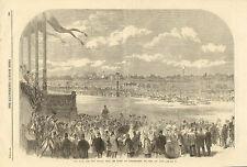 Horse Racing, Grand Prix De Paris, At Longchamps, Vintage, 1864 Antique Print.