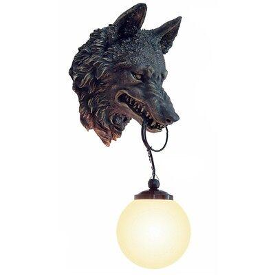 Wolfskopf Wandlampe Wolf Wölfe Bronze farben Lampe Wanddekoration WO10