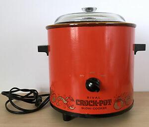 Vtg-70s-RIVAL-3100-2-3-5-Qt-Electric-Flame-Red-Orange-Crock-Pot-Slow-Cooker