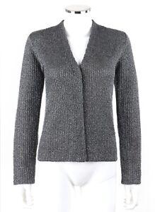 gris L Mohair Karan Taille Signature de Cardigan en perle argenté Donna métallisé w07Pfqf