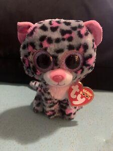 "TY Beanie Boos Tasha The Leopard Glitter Pink Eyes 6"" With Tag"