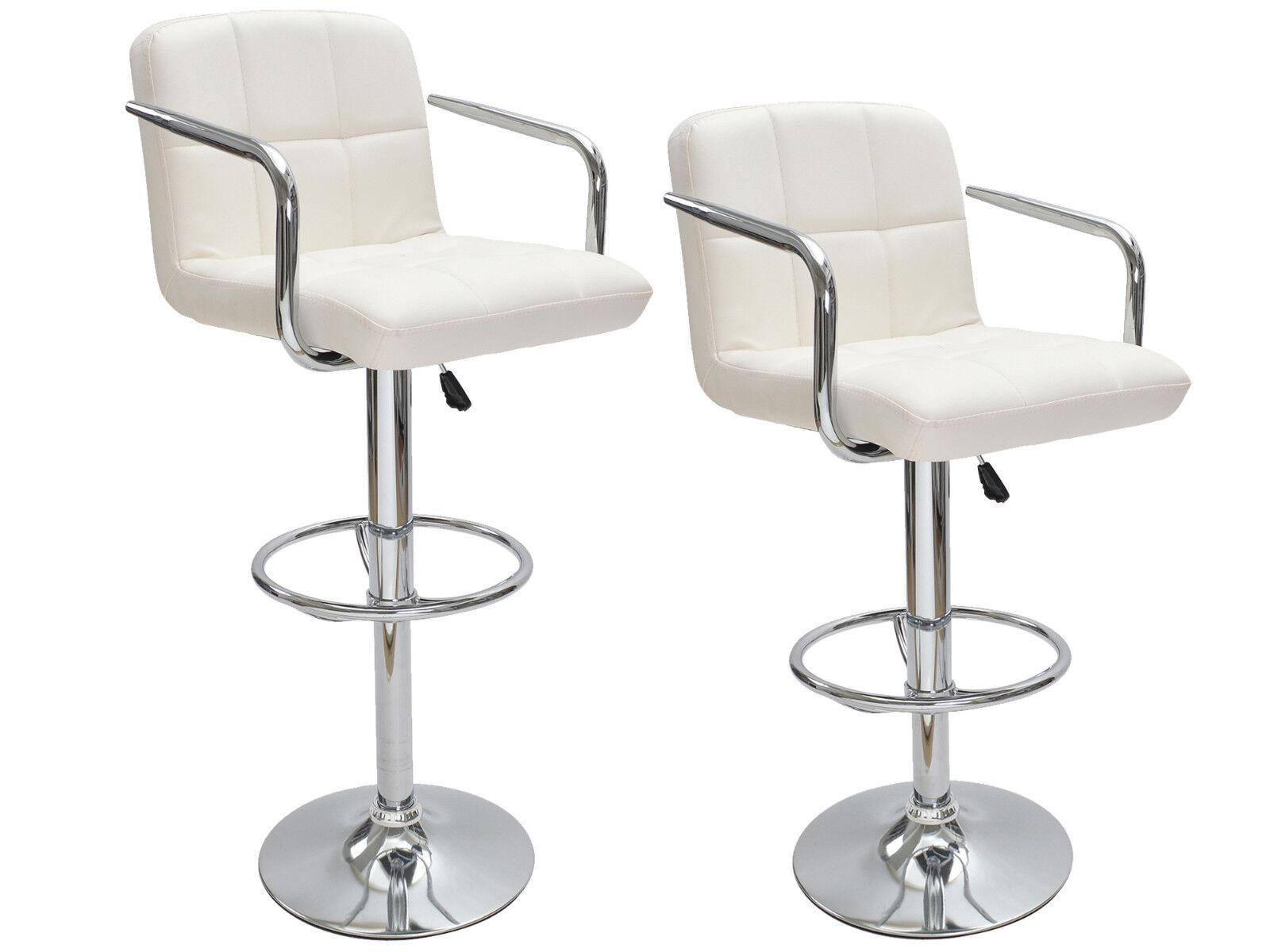 Genial Details About 2 White Bar Stools Leather Modern Hydraulic Swivel Pub Chair  Barstool W/ Armrest