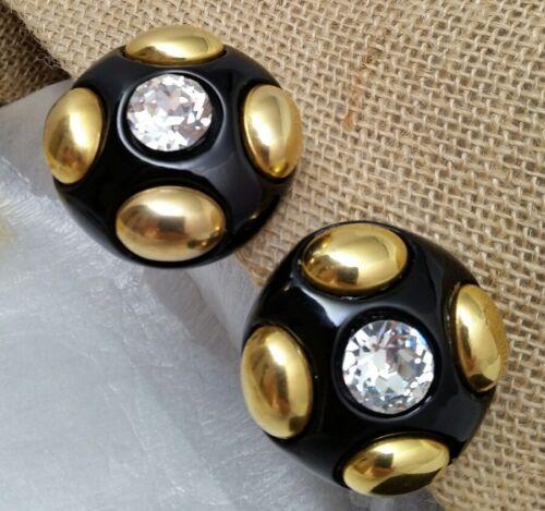 Vintage Oversized Jewellians Black Rhinestone Cli… - image 1