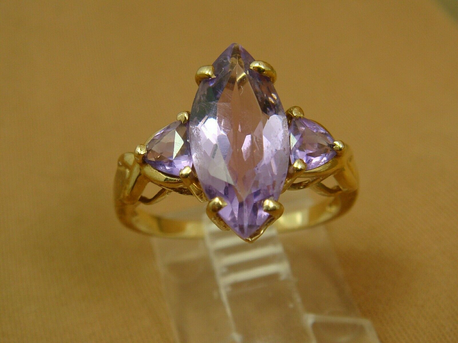 10K YG Marquise Shaped Amethyst with Triilliant Side Stones Ring - Size 7.25