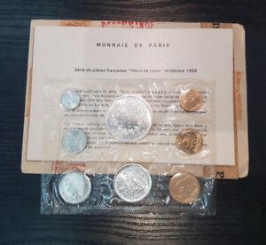 Monnaie-de-Paris-Serie-FDC-Fleur-de-coin-1968-8-pieces-Type-enveloppe