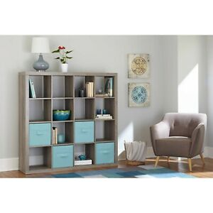 Details About Large 16 Cube Bookcase Storage Shelves Organizer Room  Divider, Rustic Gray