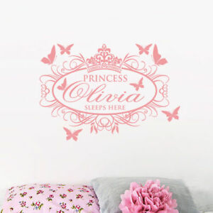 Details about Princess Sleep Here Personalisation Name Bedroom Butterflies  Decal Wall Stickers