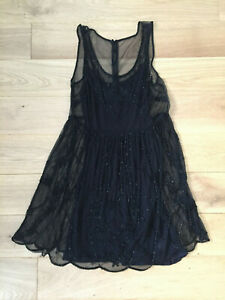 Black-sheer-beaded-shift-dress-New-Look-size-8