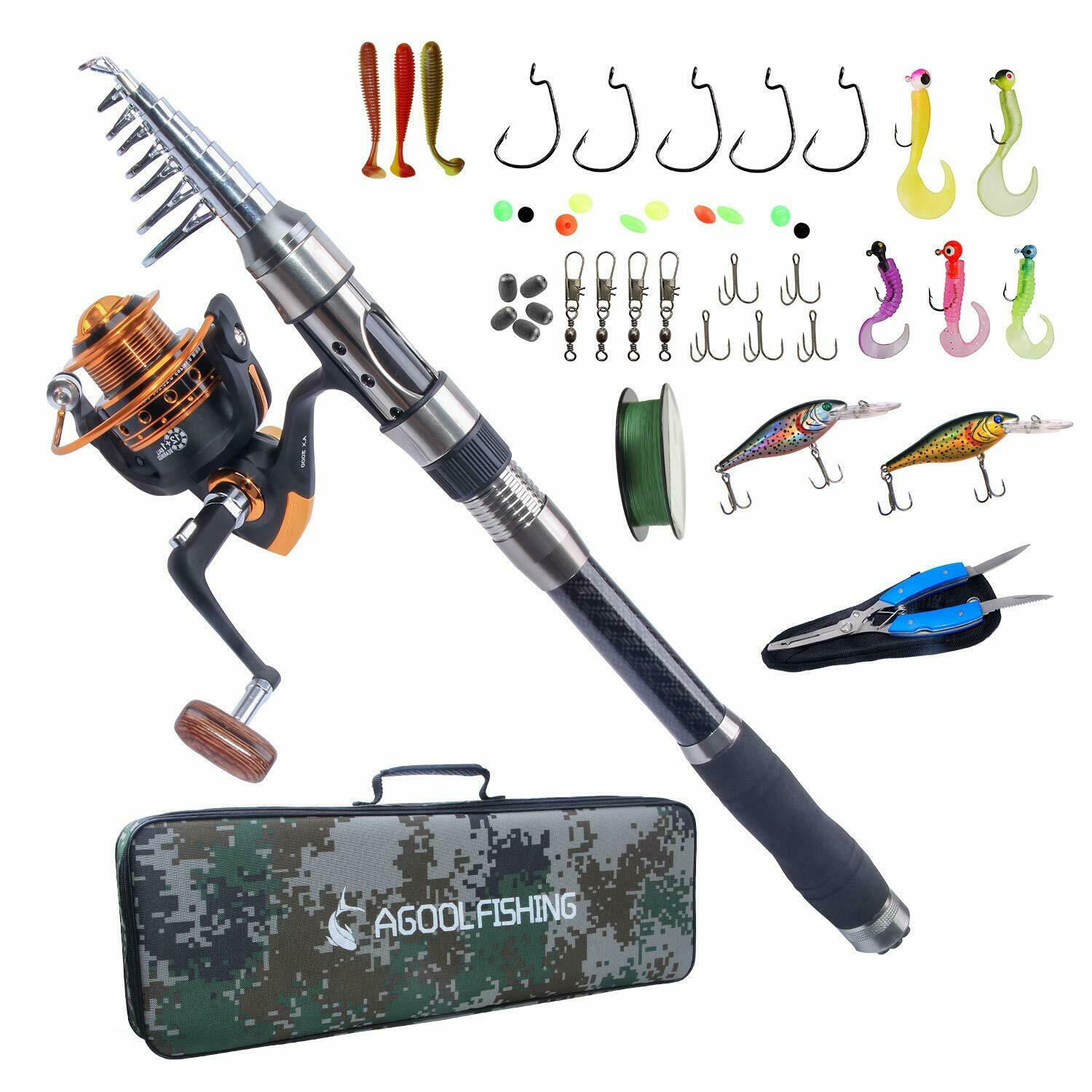 Spinning Fishing Rod and Reel Combo Saltwater Carbon Fiber Fishing Rod Full Set