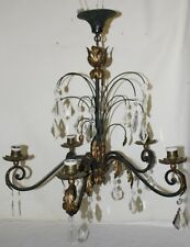 Vintage French Bagues Style Iron Tole Leaf and Crystal Chandelier FREE DELIVERY